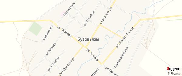 Карта села Бузовьязы в Башкортостане с улицами и номерами домов