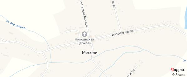 Центральная улица на карте села Месели с номерами домов