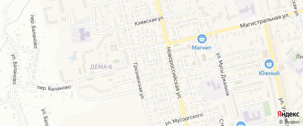 Магистральный переулок на карте Уфы с номерами домов