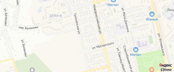 Аургазинский переулок на карте Уфы с номерами домов