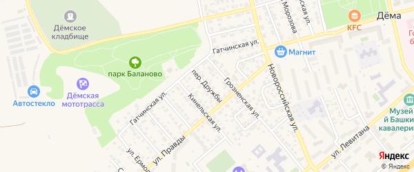 Переулок Дружбы на карте Уфы с номерами домов