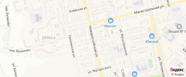 Новороссийская улица на карте Уфы с номерами домов