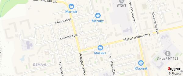 Киевский переулок на карте Уфы с номерами домов