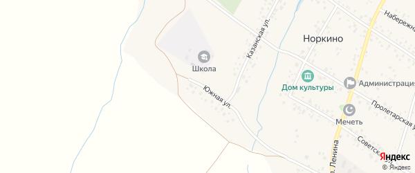 Южная улица на карте деревни Норкино с номерами домов