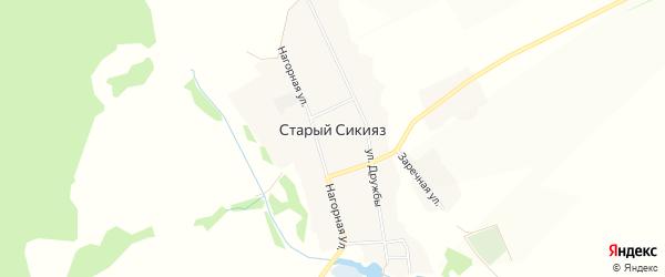 Карта деревни Старого Сикияза в Башкортостане с улицами и номерами домов
