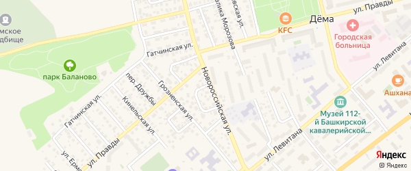 Краснодарский переулок на карте Уфы с номерами домов