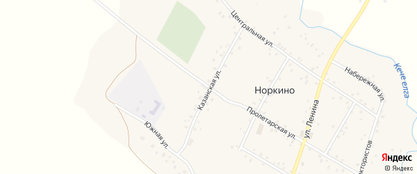 Казанская улица на карте деревни Норкино с номерами домов