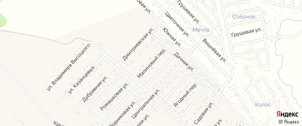 Малиновый переулок на карте села Миловки с номерами домов