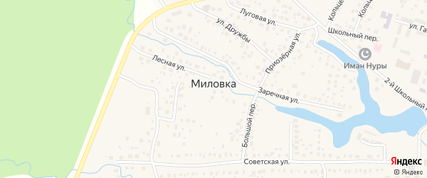 2-ая Шоссейная улица на карте села Миловки с номерами домов