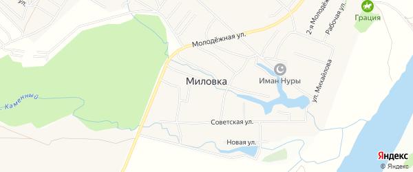 Карта села Миловки в Башкортостане с улицами и номерами домов