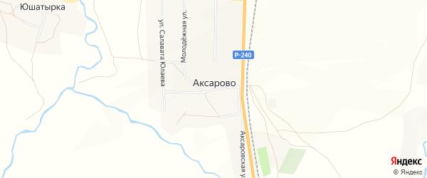 Карта деревни Аксарово в Башкортостане с улицами и номерами домов