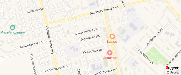 Туринская улица на карте Уфы с номерами домов