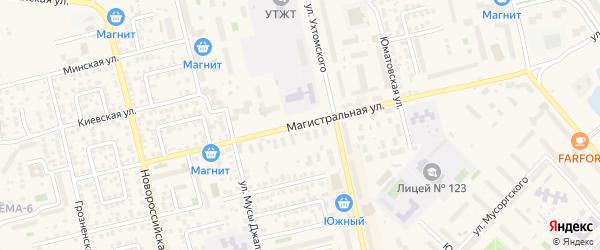 Магистральная улица на карте Уфы с номерами домов