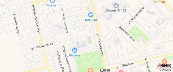 Улица Мусоргского на карте Уфы с номерами домов
