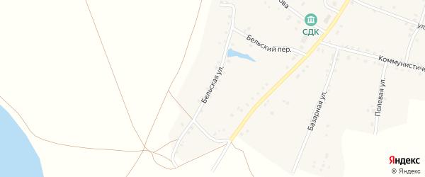 Бельская улица на карте села Удельно-Дуванея с номерами домов