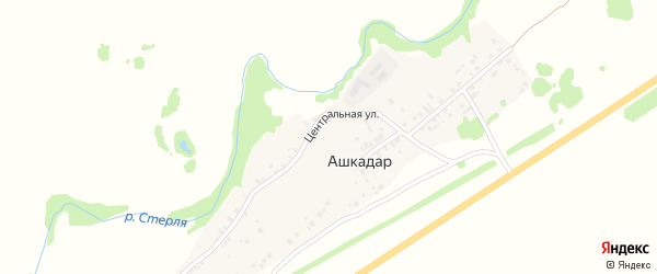 Центральная улица на карте деревни Ашкадара с номерами домов