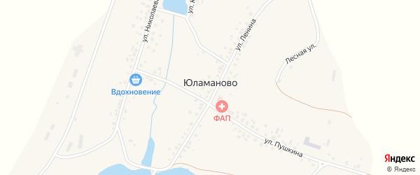 Улица Королева на карте деревни Юламаново с номерами домов