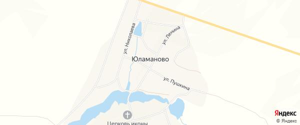Карта деревни Юламаново в Башкортостане с улицами и номерами домов