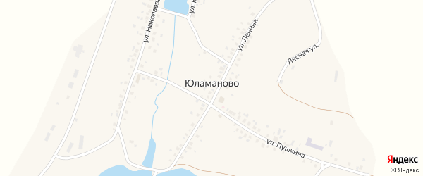 Лесная улица на карте деревни Юламаново с номерами домов