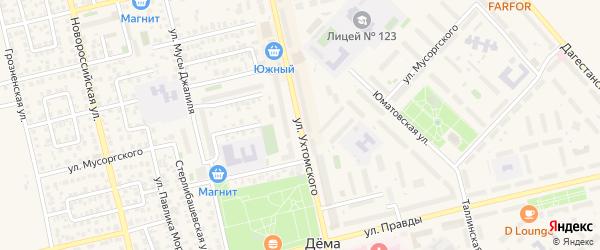 Улица Ухтомского на карте Уфы с номерами домов