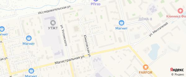 Юматовский переулок на карте Уфы с номерами домов