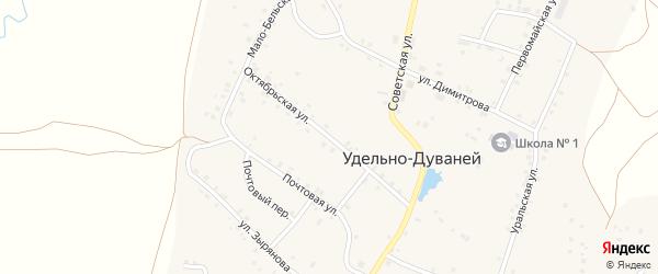 Октябрьская улица на карте села Удельно-Дуванея с номерами домов