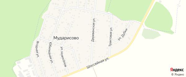 Деревенская улица на карте деревни Мударисово с номерами домов