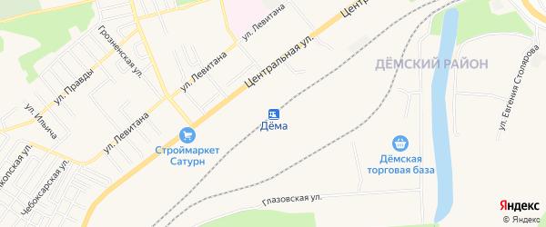 Карта станции Демы города Уфы в Башкортостане с улицами и номерами домов