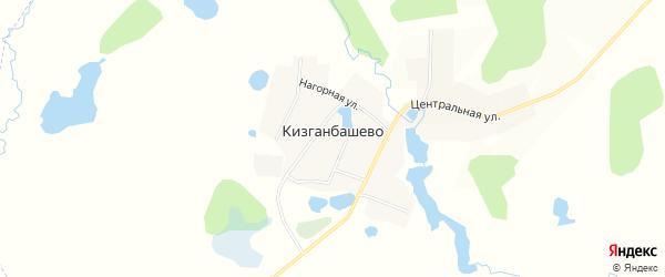 Карта деревни Кизганбашево в Башкортостане с улицами и номерами домов