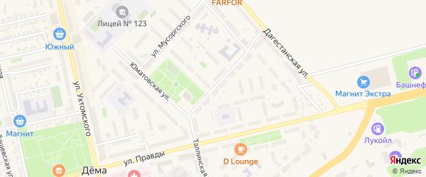 Таллинская улица на карте Уфы с номерами домов