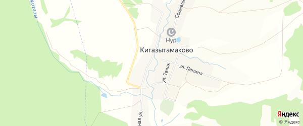 Карта деревни Кигазытамаково в Башкортостане с улицами и номерами домов