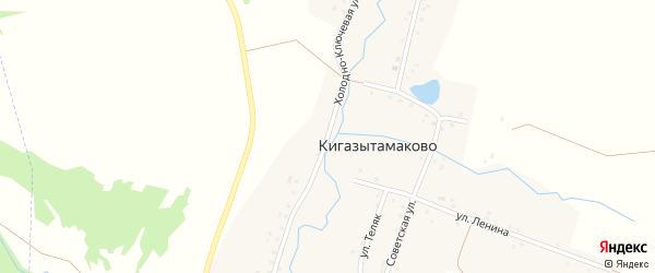 Холодно-Ключевая улица на карте деревни Кигазытамаково с номерами домов