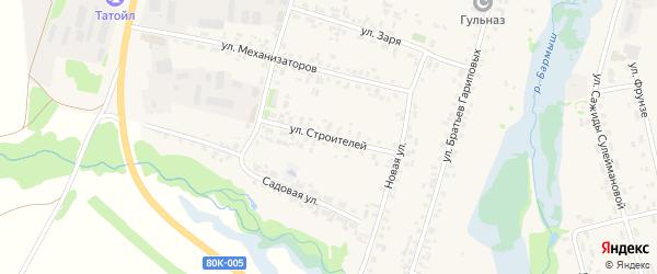 Улица Строителей на карте села Верхние Татышлы с номерами домов