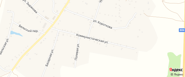 Коммунистическая улица на карте села Удельно-Дуванея с номерами домов