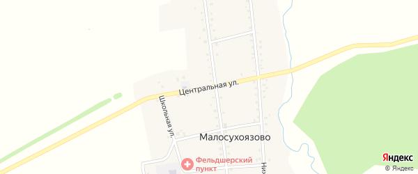 Центральная улица на карте села Малосухоязово с номерами домов