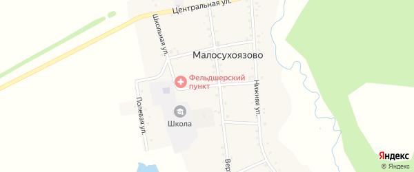 Школьная улица на карте села Малосухоязово с номерами домов