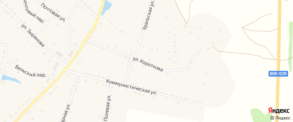 Улица Короткова на карте села Удельно-Дуванея с номерами домов