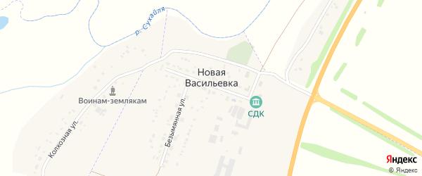 Центральная улица на карте деревни Новой Васильевки с номерами домов