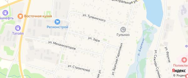 Улица Заря на карте села Верхние Татышлы с номерами домов