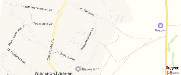 Больничный переулок на карте села Удельно-Дуванея с номерами домов
