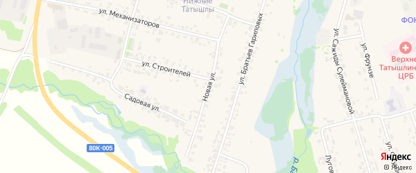 Новая улица на карте села Верхние Татышлы с номерами домов