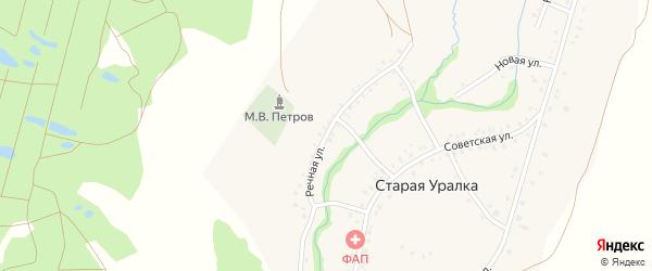 Речная улица на карте деревни Старой Уралки с номерами домов