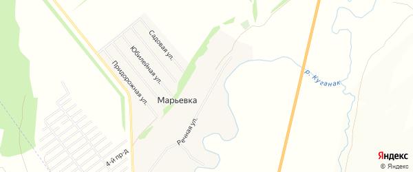 Карта деревни Марьевки в Башкортостане с улицами и номерами домов