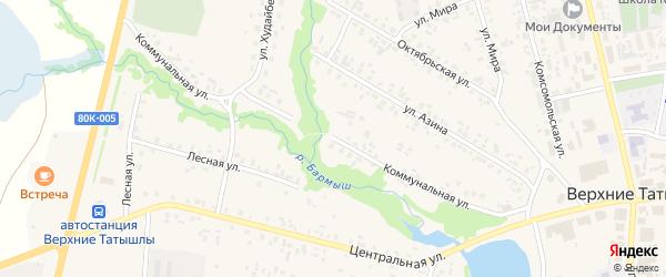 Коммунальная улица на карте села Верхние Татышлы с номерами домов