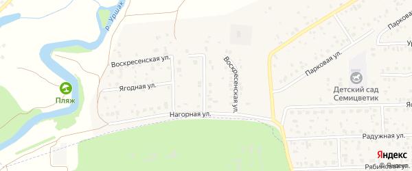 Солнечная улица на карте села Булгаково с номерами домов