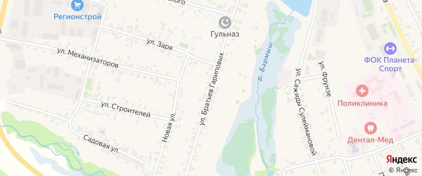 Улица Братьев Гариповых на карте села Верхние Татышлы с номерами домов
