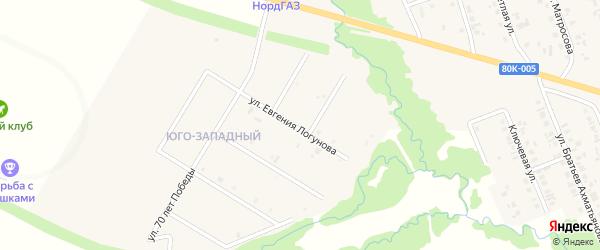 Улица Евгения Логунова на карте села Верхние Татышлы с номерами домов