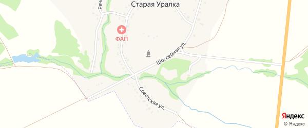 Шоссейная улица на карте деревни Старой Уралки с номерами домов