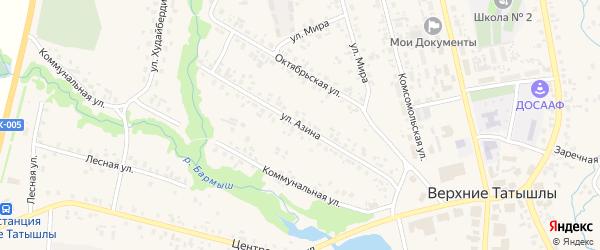 Улица Азина на карте села Верхние Татышлы с номерами домов