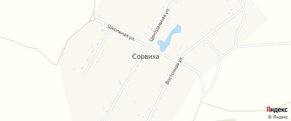 Центральная улица на карте села Сорвихи с номерами домов